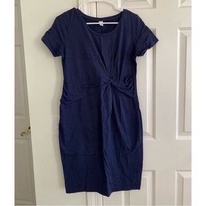 Maternity Fitted Navy Blue Detailed Dress